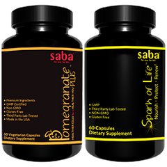 Saba Antioxidant & Immune Support Gift Set - One 60-count Saba Pom Plus and One 60-count Spark of Life