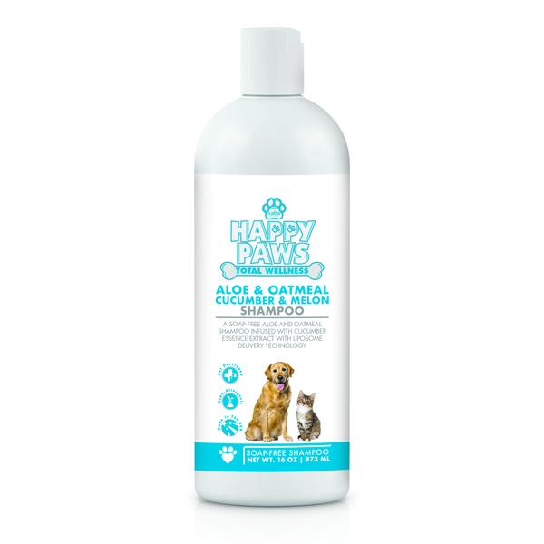 Happy paws   aloe and oatmeal shampoo 16oz   front